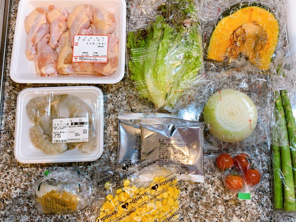 調理前の北海道スープカレー、えびのサラダ