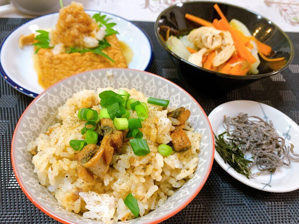 国産うなぎのひつまぶし、生揚げのしそおろしのせ、ささみと白菜のあえもの